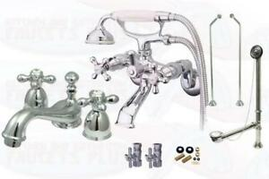 Polished Chrome Clawfoot Tub Faucet Package Kit With Drain
