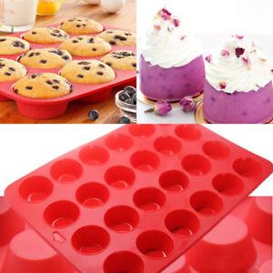 details sur 24 cavite mini muffin cupcake tasse moule silicone savon cookies plats a four