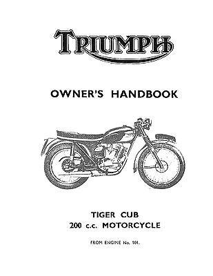 Triumph Owners Manual Book 1966 Tiger Cub T20 & 1966