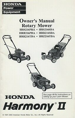 1997-2003 HONDA ROTARY MOWER HARMONY II OWNER'S MANUAL P/N