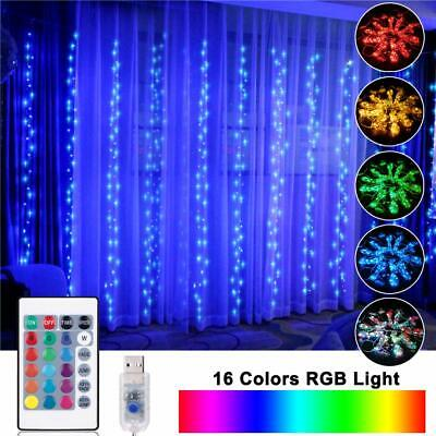 opolemin window curtain lights color change curtain string lights of 300 rgb 713101685709 ebay