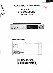 Onkyo A-05 Integrated Stereo Amplifier Original Service