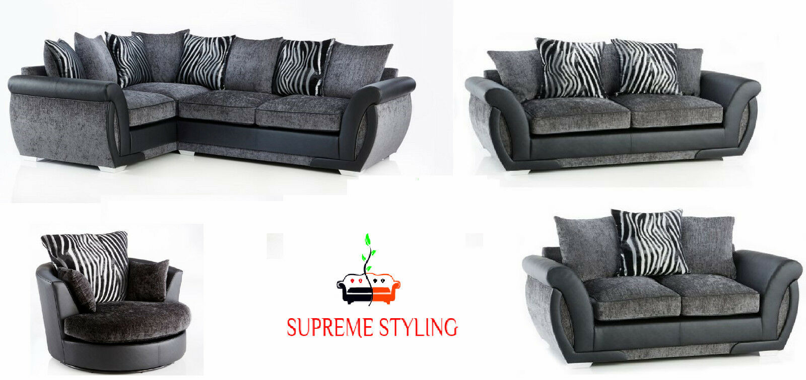 leather and chenille sofa futon sleeper mattress new original mulberry shannon corner 3 2 suite details about swivel