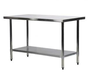 kitchen work tables island with trash can 24 x 48 stainless steel table commercial restaurant image is loading 034