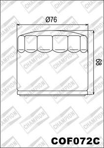 COF072C Oil Filter CHAMPION Harley Davidson XLH1100 up To