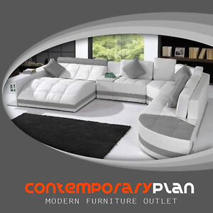 details about miami contemporary leather sectional sofa set curved modern design white grey