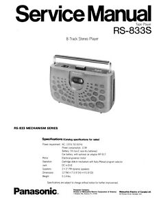 PANASONIC RS-833S PORTABLE 8 TRACK SERVICE MANUAL