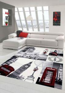details sur designer tapis contemporain salon tapis london scene creme gris rouge