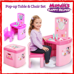 Activity Table And Chair Set Vinyl Dining Room Covers Kids Pretend Play Minnie Mouse Happy Image Is Loading