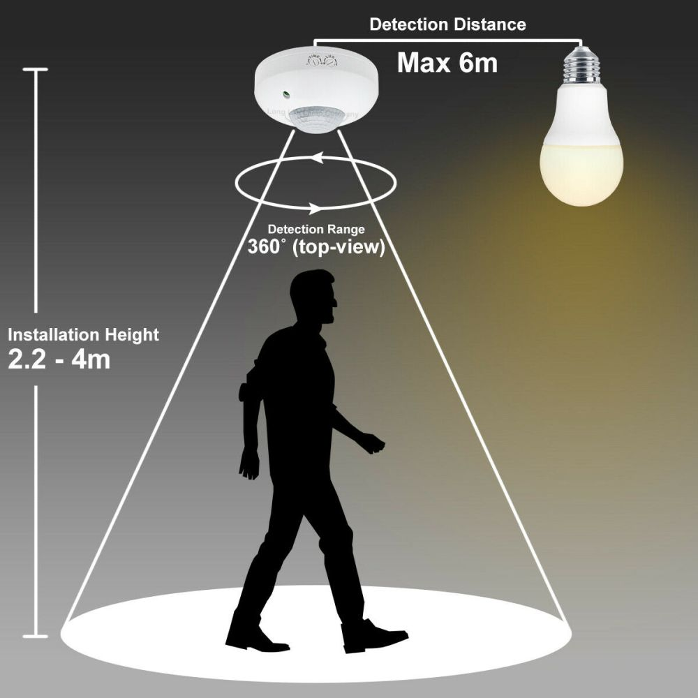 medium resolution of surface mount pir ceiling occupancy motion sensor detector light switch 360