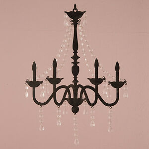 Image Is Loading 2 Faux Chandelier Silhouette Metal Wall Decor Acrylic
