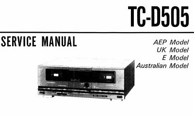 SONY TC-D505 SERVICE MANUAL BOOK INC SCHMS IN ENGLISH