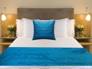 details about king size bed scarf coordinate pillow cover indian bed runner dupioni silk blue