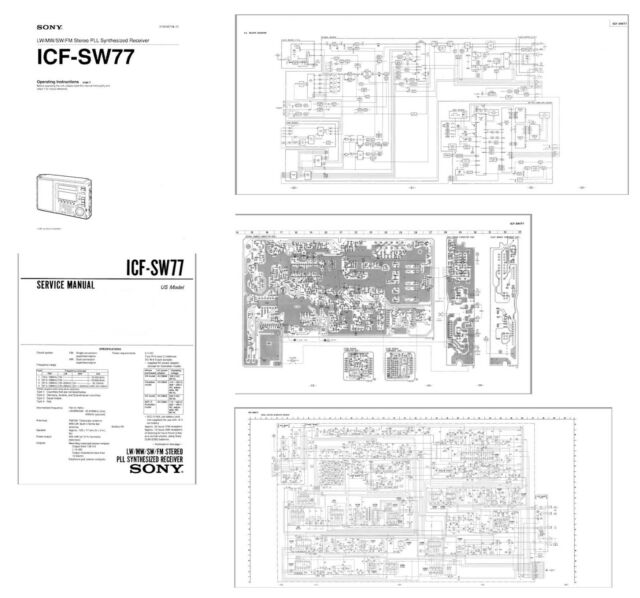 SONY ICF-SW77 PHOTOCOPY OWNERS + SERVICE MANUALS + 11x17