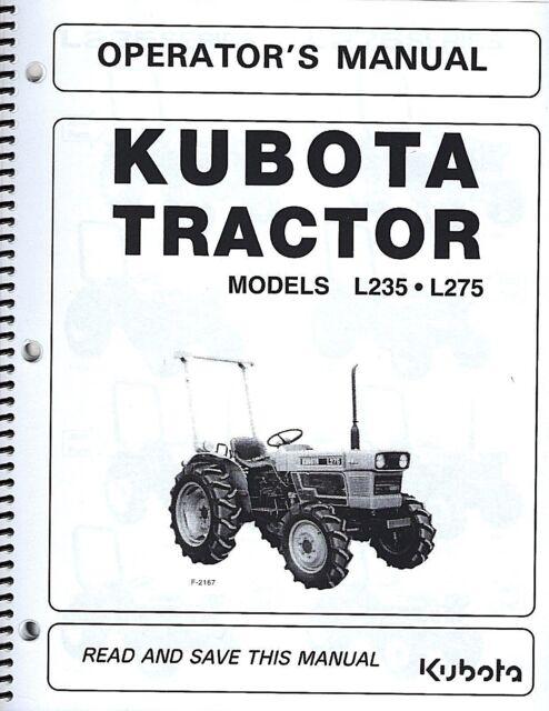 Kubota L235 & L275 Tractor Operator's Manual w/Wiring
