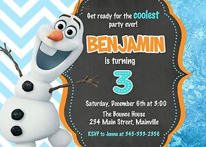 details about frozen olaf snowman birthday party invitation