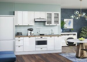 details about modern white gloss kitchen 8 cabinets unit set cupboards base wall cup handle