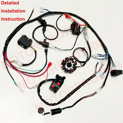 buggy wiring harness loom gy6 150cc atv stator electric start kandi gokart  dazon  ebay