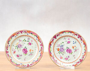 Lovely Quality! 18c Qianlon FAmille Rose Cream Plates Flowers Qing Chinese