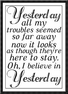 The Beatles Liverpool Yesterday Lyrics Quote Poster Print