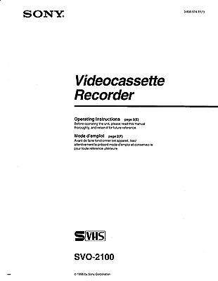Instruction Operating User MANUAL for SONY SVO-2100 SVHS