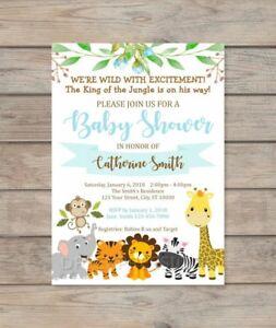 Details About Custom Jungle Safari Boy Baby Shower Invitation Animals Invite