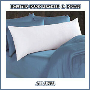 details about luxury duck feather down long bolster pillow small double king size