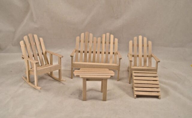 unfinished adirondack chair rentals dallas set miniature 1 12 scale t4614 wood 5pcs ebay