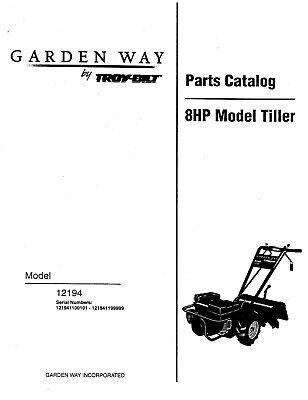 Troy Bilt 12194 Tiller 8HP Repair Replacement Parts Manual