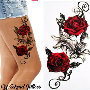 Red Roses Flower Temporary Tattoos Stickers Body Art 3d Rose Tatoo