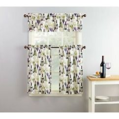 Cafe Kitchen Curtains Art Purple Green Beige Wine Grapes Set Tiers Image Is Loading
