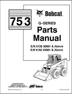 Bobcat 753 G-Series Skid Steer Loader Parts Manual on a CD
