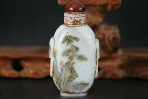19th Chinese Antique Qing Dynasty Glass Handcarved Landscape Snuff Bottles