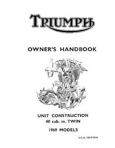 Triumph Owners Manual Book 1969 TR6R, TR6C & T120R Tiger