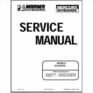 Mercury Mariner 40 50 55 60hp 2 Stroke OEM Service Shop