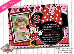 details about digital file red black minnie mouse 3rd birthday party invitation any age