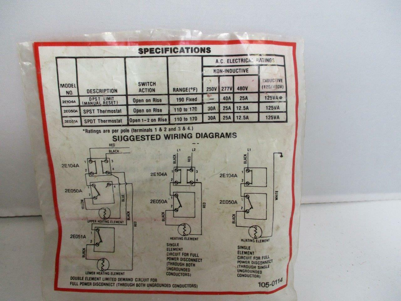 hight resolution of dayton manual reset electric water heater limit control 2e104a 190f for sale online ebay