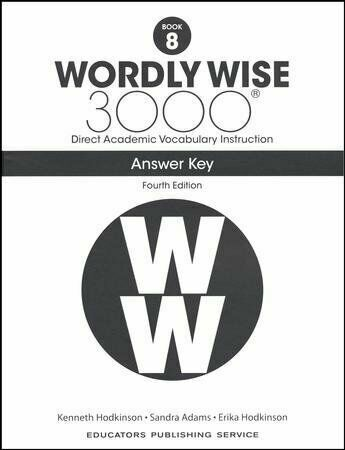 4th Edition Wordly Wise 3000 Grade 8 Key for sale online