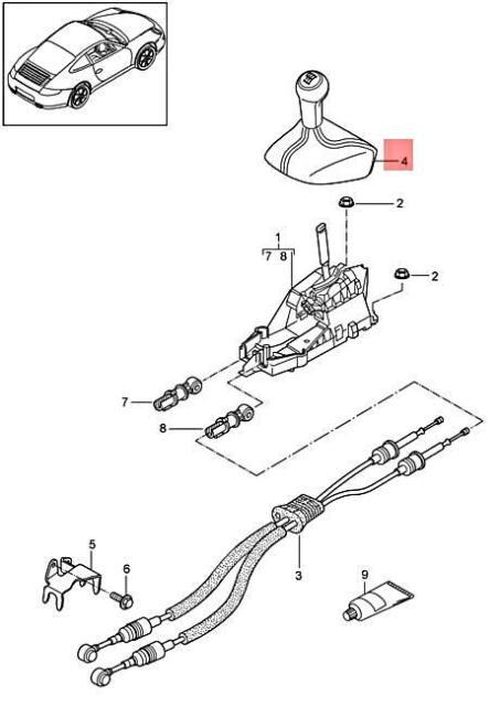 Genuine PORSCHE 911 Boxster Gearstick Knob Dark grey