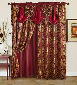 details about burgundy red gold beaded 5 pc window curtains set panels drapes valance 84 in l