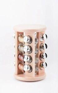 details sur support a epices rotatif en bois presentoir tourniquet 16 pots verre avec epices