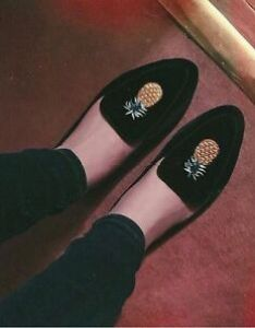 Image is loading zara navy flat velvet shoes with embroidery detail also ss sizes uk rh ebay