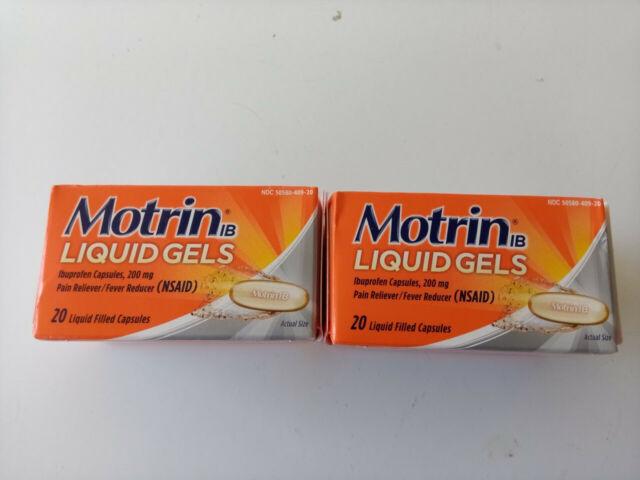 motrin ibuprofen liquid gels lot of 2 boxes expires 2021 ...