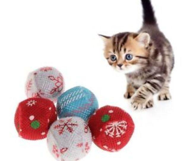 Image Is Loading Pcs Cat Toys Christmas Ball Catnip Pets Kitten