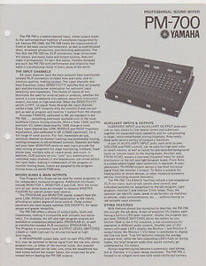 Misc 0114 1970s Yamaha PM 700 Sound Mixer Specification