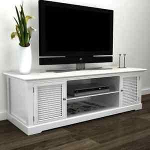 details sur vidaxl meuble tv blanc en bois meuble tele et rangement media armoire basse