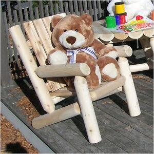 log style adirondack chairs barber chair repair hydraulic rustic natural cedar furniture junior ebay image is loading