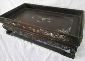 Antique Chinese inlaid mother of pearl carved hardwood scholars tray