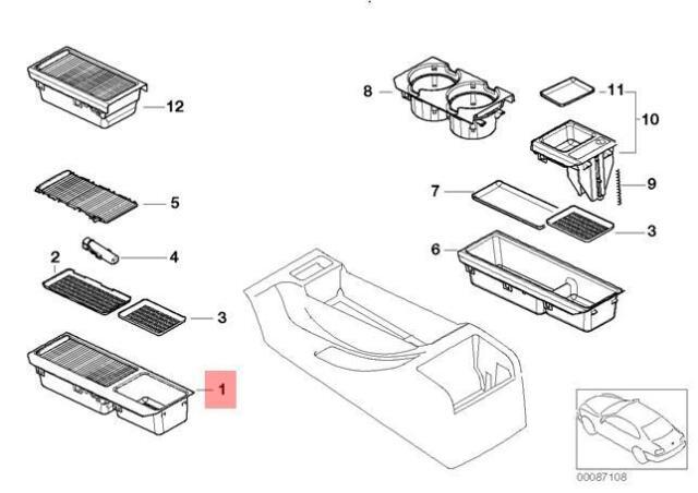 Genuine BMW 3 E46 CENTRE CONSOLE TRAY STORAGE INSERT+COVER