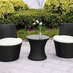 Rattan Garden Chairs And Table Folding Chair Bulk Furniture Vase Set Wicker 3pc Patio Coffee Image Is Loading